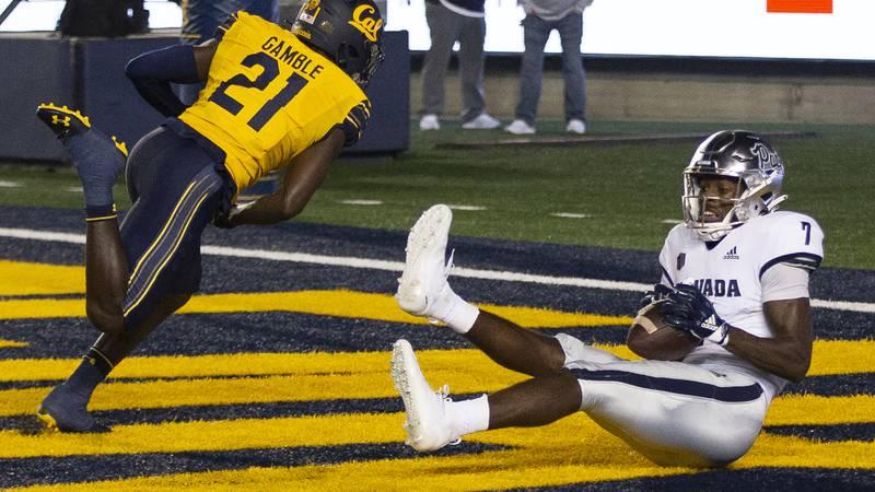 Nevada wide receiver Romeo Doubs (7) makes a touchdown reception behind California cornerback...