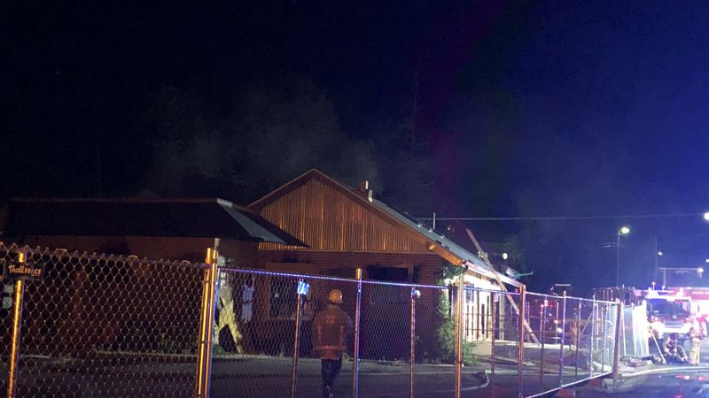 Fire burns at former Bibo's Coffee on Thursday, August 13, 2020.