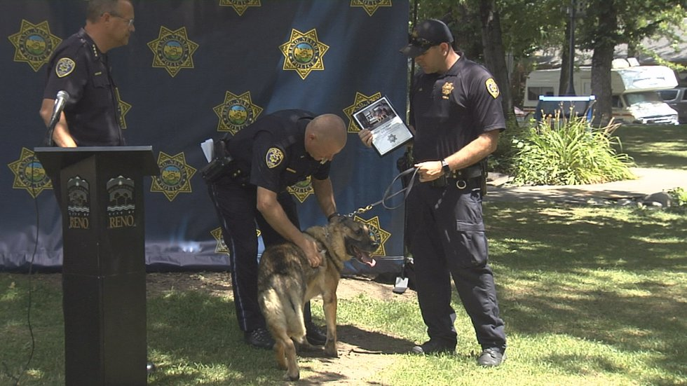 The Reno Police Department honors K-9 Thor as he heads off into retirement.