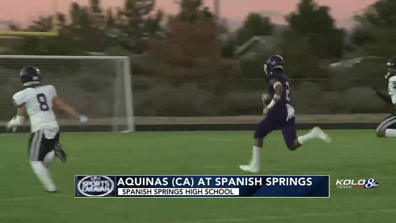 Spanish Springs wide receiver Malachi Thomas makes a huge catch and run in the first quarter as...