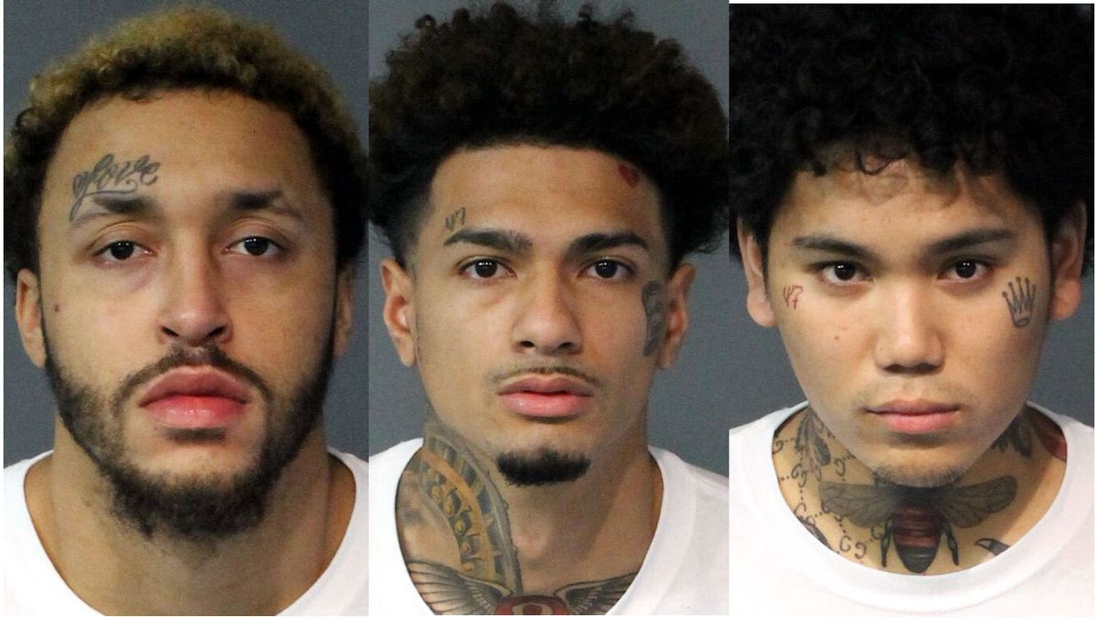 Left to right: Quentin Moore, Jamil Geronimo, Tyler Hernandez mugshots courtesy Washoe County jail