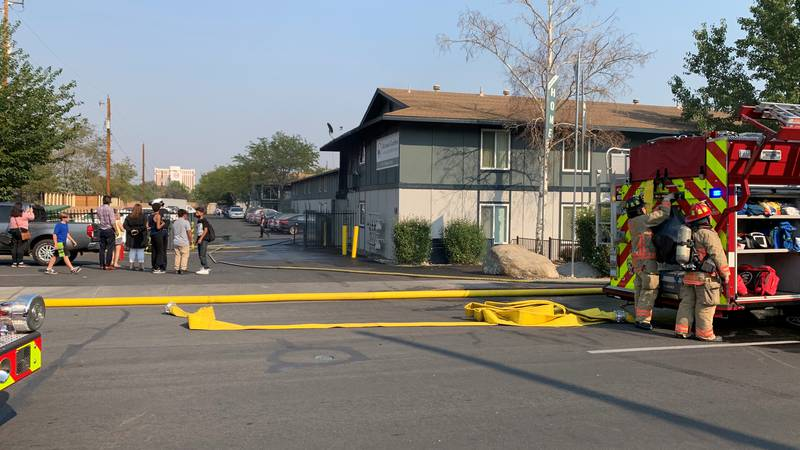 A fire damaged the exterior of one building at the Kirman Garden Apartments.