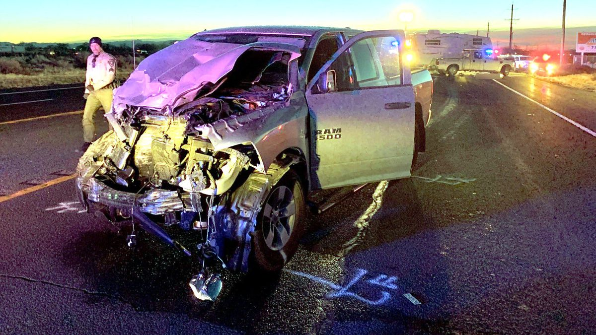 /The scene of a fatal crash on U.S. 50 at Trento Lane west of Fallon. Nevada Highway Patrol photo.