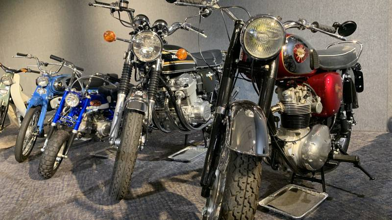 Motorcycles on display at the National Automobile Museum in Reno.