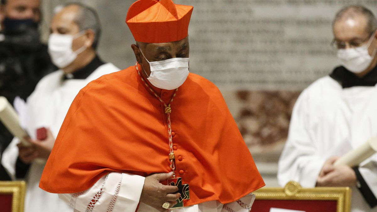 American new Cardinal Wilton D. Gregory leaves after he was appointed by Pope Francis, during a...