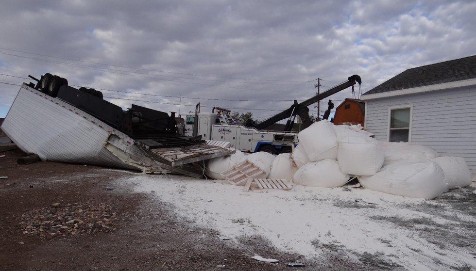 NHP investigates a rollover in Goldfield involving a tractor trailer.