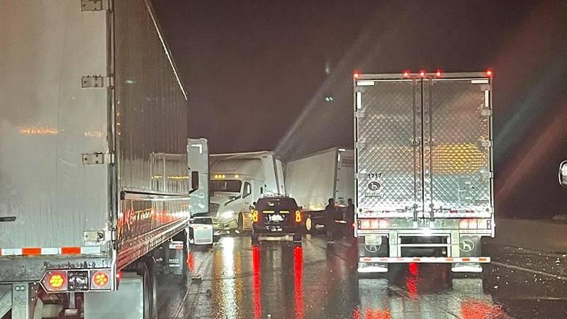 A crash involving a big rig blocks traffic on eastbound Interstate 80 near Donner Summit,...