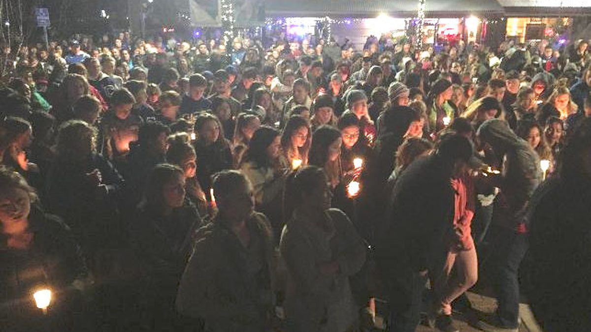 People gather for a vigil in Carson City after seven teenagers were hurt in a rollover crash....