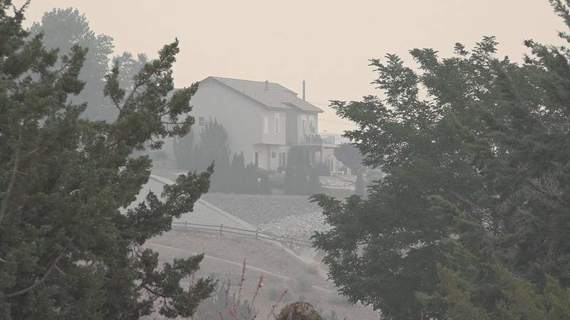 Smoke hovers over northern Nevada due to surrounding wildfires.