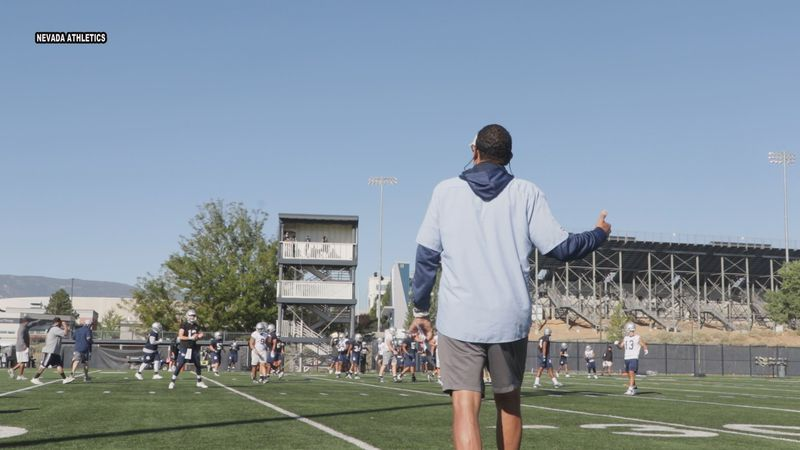 Nevada head coach Jay Norvell leads the Wolf Pack through its first practice of training camp.
