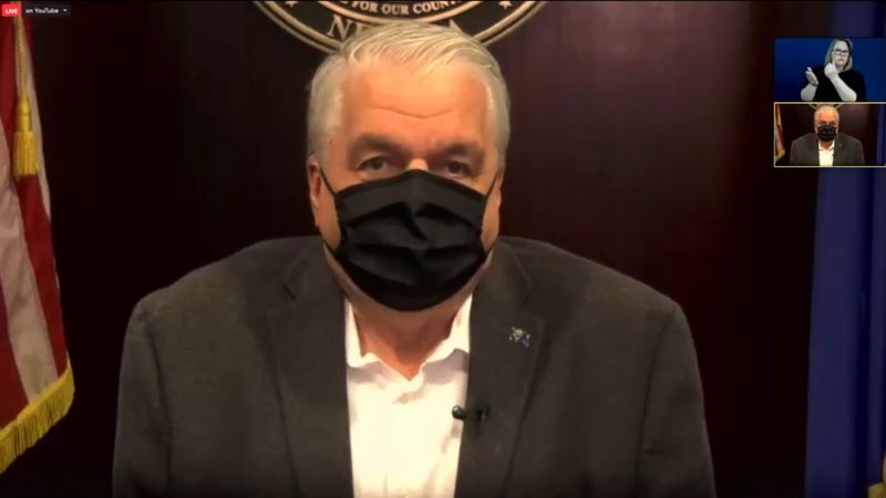 Gov. Steve Sisolak speaks virtually about the COVID-19 vaccine rollout in Nevada on December...