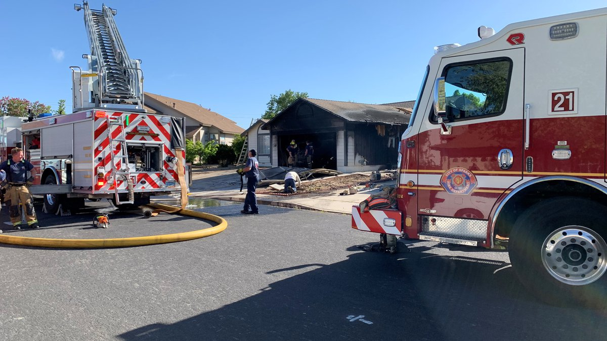 Crews on scene of a house fire in Sparks on Monday, May 10.