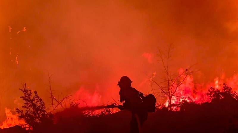 Firefighter working on the Dixie Fire on July 22.