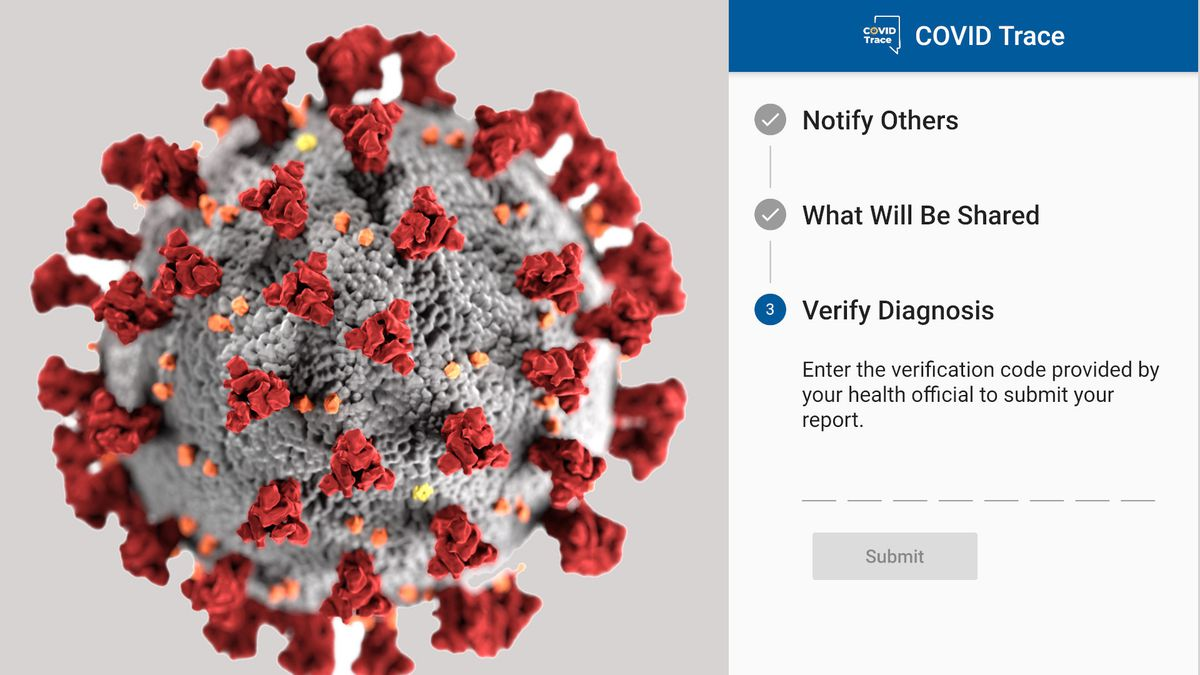 The COVID-19 virus and a screenshot of the Nevada COVID Trace app that warns others of possible...