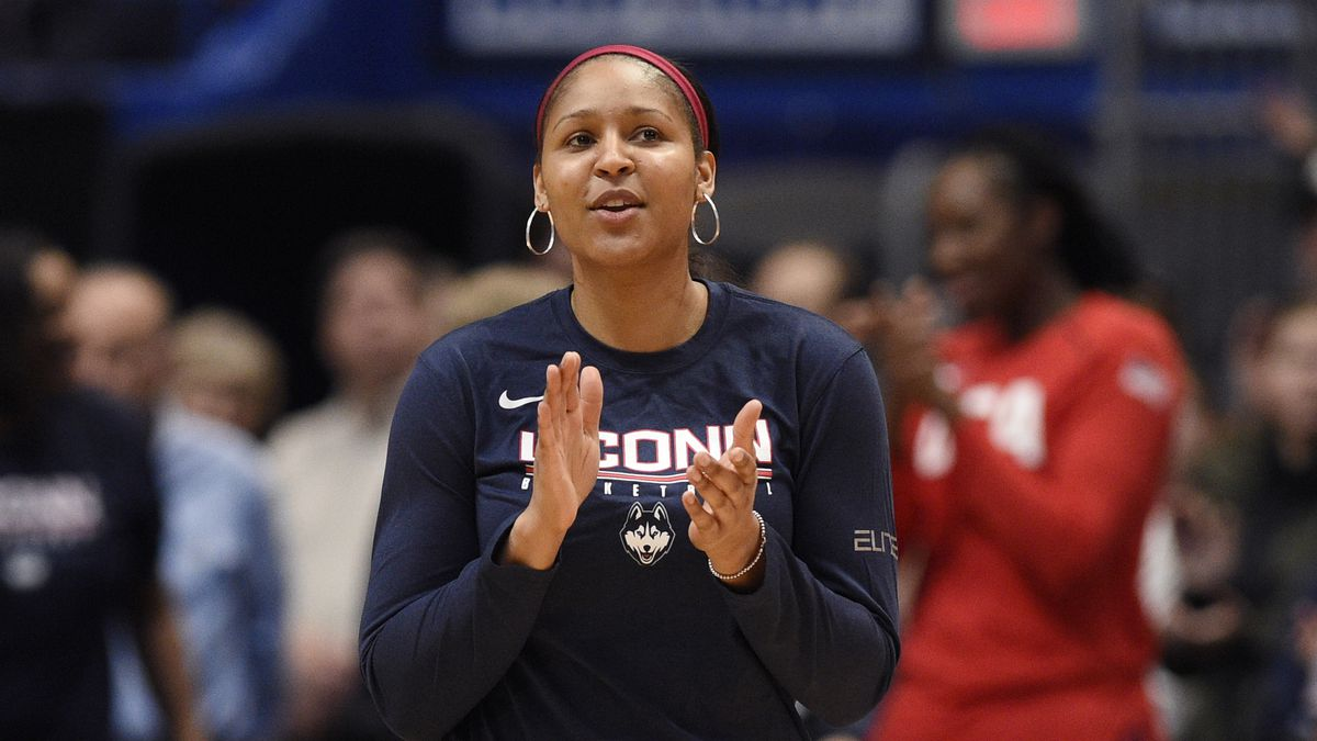 Former Connecticut player and Minnesota Lynx Maya Moore, is announced for a ceremony before a basketball game, Monday, Jan. 27, 2020, in Hartford, Conn.