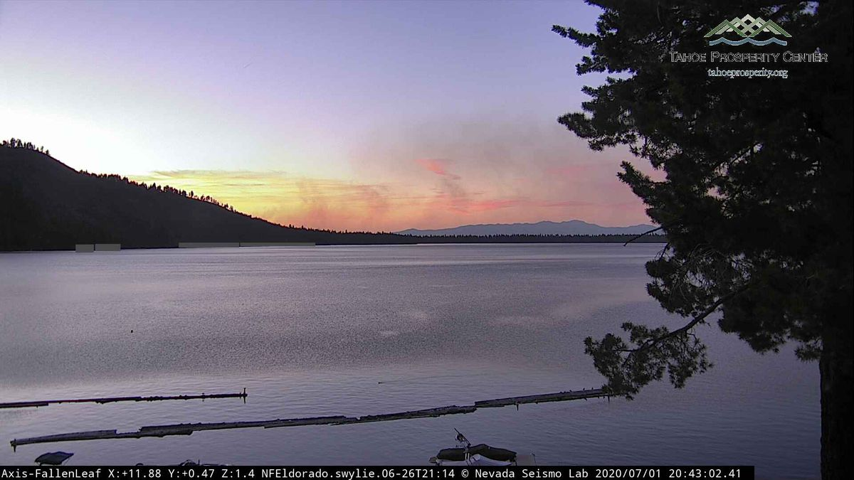 An Alert Tahoe image of smoke from a fire at the Mount Tallac Trailhead.
