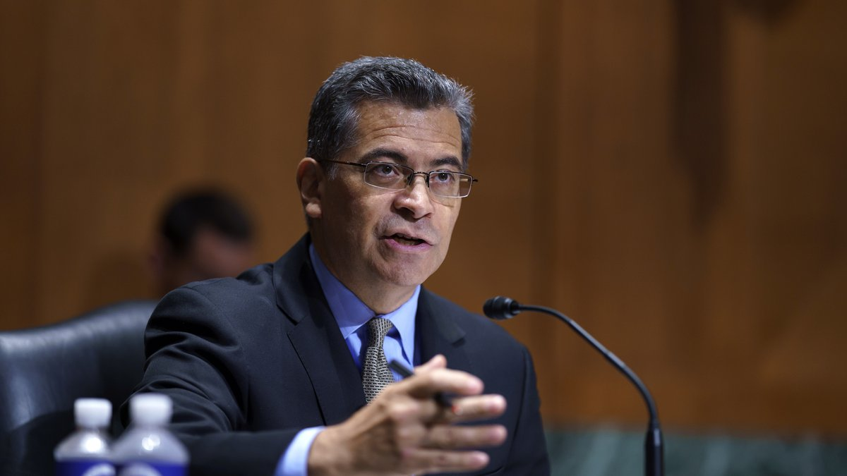 In this June 10, 2021, file photo, Health and Human Services Secretary Xavier Becerra testifies...