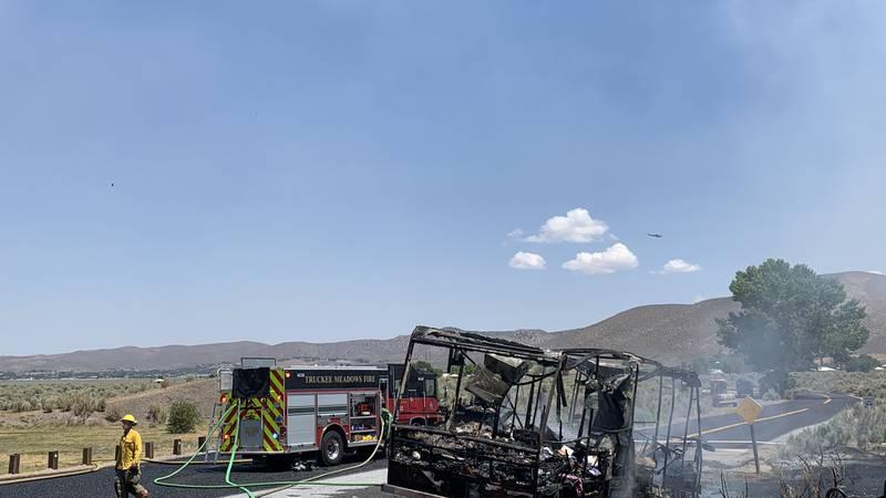 Crews respond to fire near Washoe Lake RV Campground.
